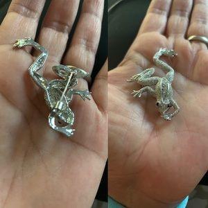Frog brooch silver color with gemstones